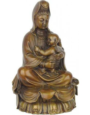 Kuan-Yin with Baby Large Bronze Statue Mythic Decor  Dragon Statues, Angels, Myths & Legend Statues & Home Decor