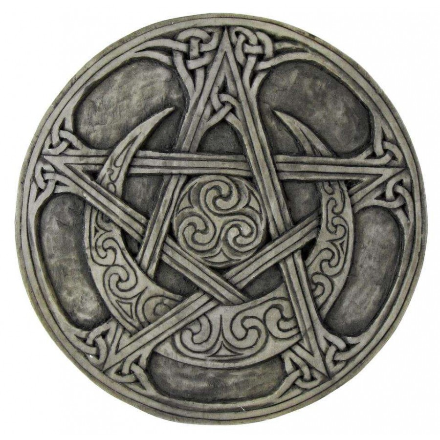 Moon Pentacle Small Plaque By Paul Borda Wicca