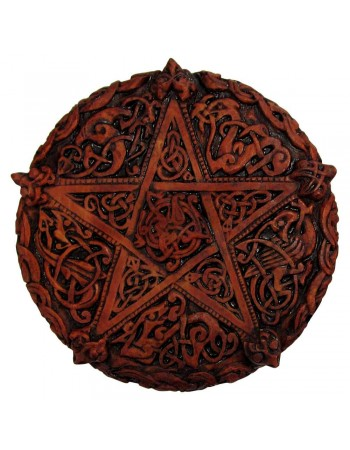 Celtic Knotwork Pentacle Wood Finish Plaque - 5 Inches Mythic Decor  Dragon Statues, Angels, Myths & Legend Statues & Home Decor