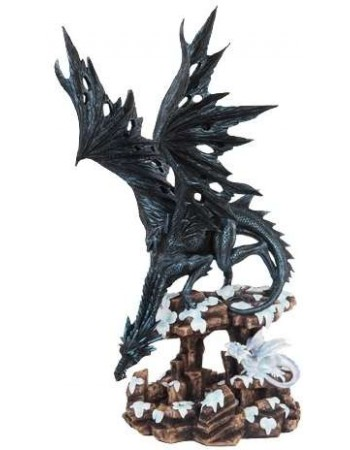 Daddy Time Black Dragon and Young Statue Mythic Decor  Dragon Statues, Angels, Myths & Legend Statues & Home Decor