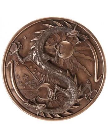 Double Dragon Alchemy Bronze Resin Plaque Mythic Decor  Dragon Statues, Angels, Myths & Legend Statues & Home Decor