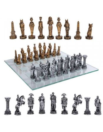 Egypt Vs Rome Chess Set with Glass Board Mythic Decor  Dragon Statues, Angels, Myths & Legend Statues & Home Decor