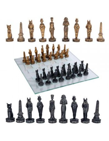 Egyptian Chess Set with Glass Board Mythic Decor  Dragon Statues, Angels, Myths & Legend Statues & Home Decor