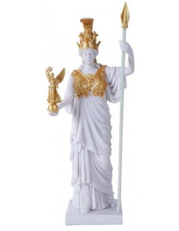 Athena, Greek Goddess of War White and Gold Statue Mythic Decor  Dragon Statues, Angels, Myths & Legend Statues & Home Decor