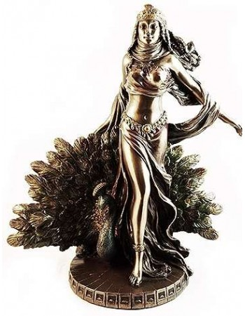 Hera Queen of the Greek Gods Statue with Peacock Mythic Decor  Dragon Statues, Angels, Myths & Legend Statues & Home Decor