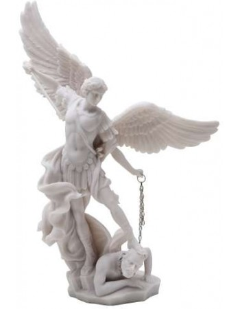 Archangel St Michael Slaying Evil 13 Inch White Statue Mythic Decor  Dragon Statues, Angels, Myths & Legend Statues & Home Decor
