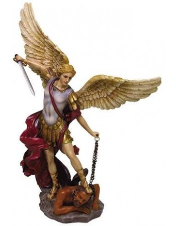 Archangel St Michael Hand Painted Color Christian Statue Mythic Decor  Dragon Statues, Angels, Myths & Legend Statues & Home Decor