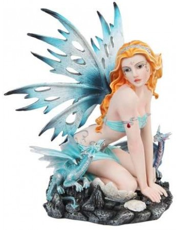 Blue Fairy with Dragonlings Statue Mythic Decor  Dragon Statues, Angels, Myths & Legend Statues & Home Decor