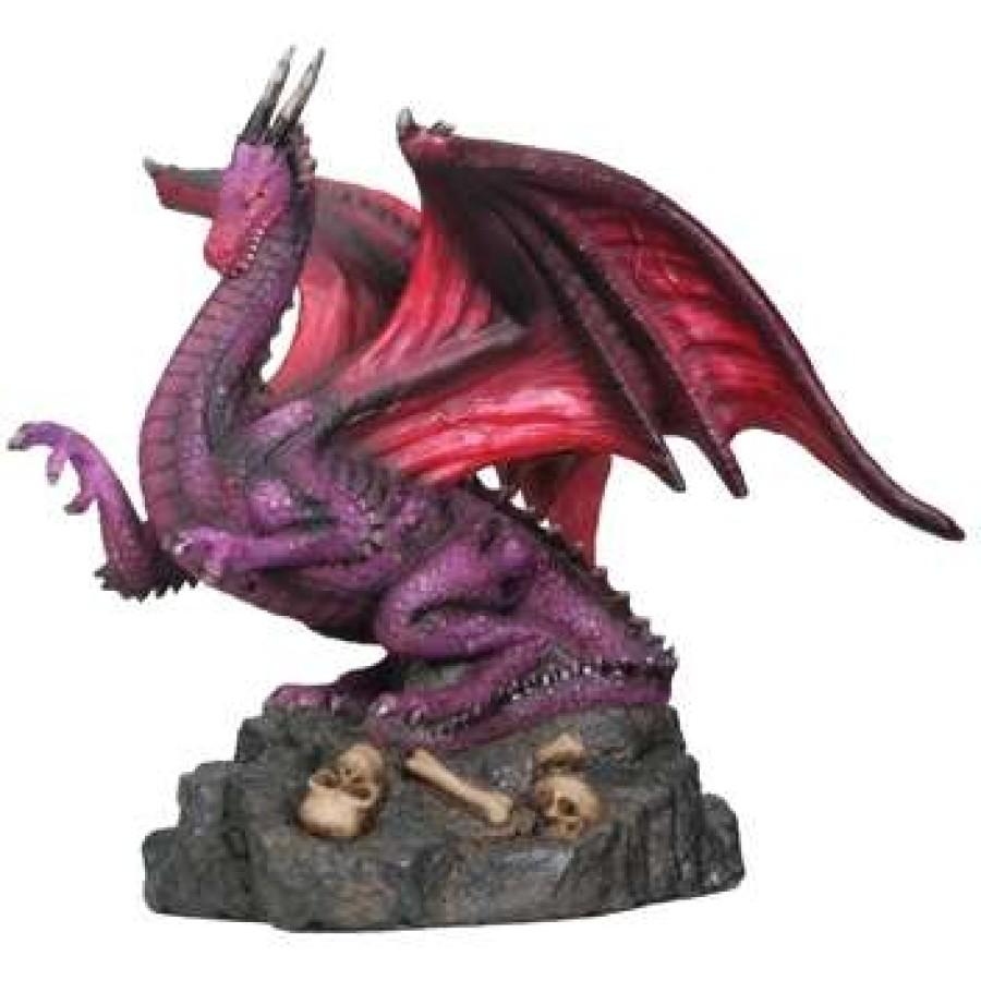 Winged Dragon Statue in Purple, Small Dragon Statues