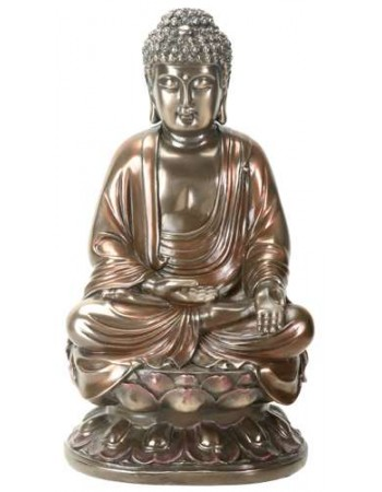 Buddha on Lotus Bronze Resin Statue Mythic Decor  Dragon Statues, Angels, Myths & Legend Statues & Home Decor