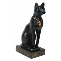 Bastet Black Cat with Scarab Necklace Statue