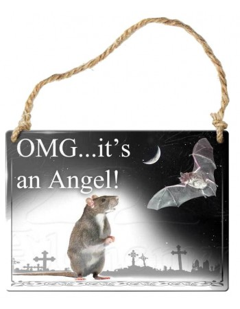 OMG Its an Angel Bat Gothic Quote Metal Sign Mythic Decor  Dragon Statues, Angels & Demons, Myths & Legends |Statues & Home Decor