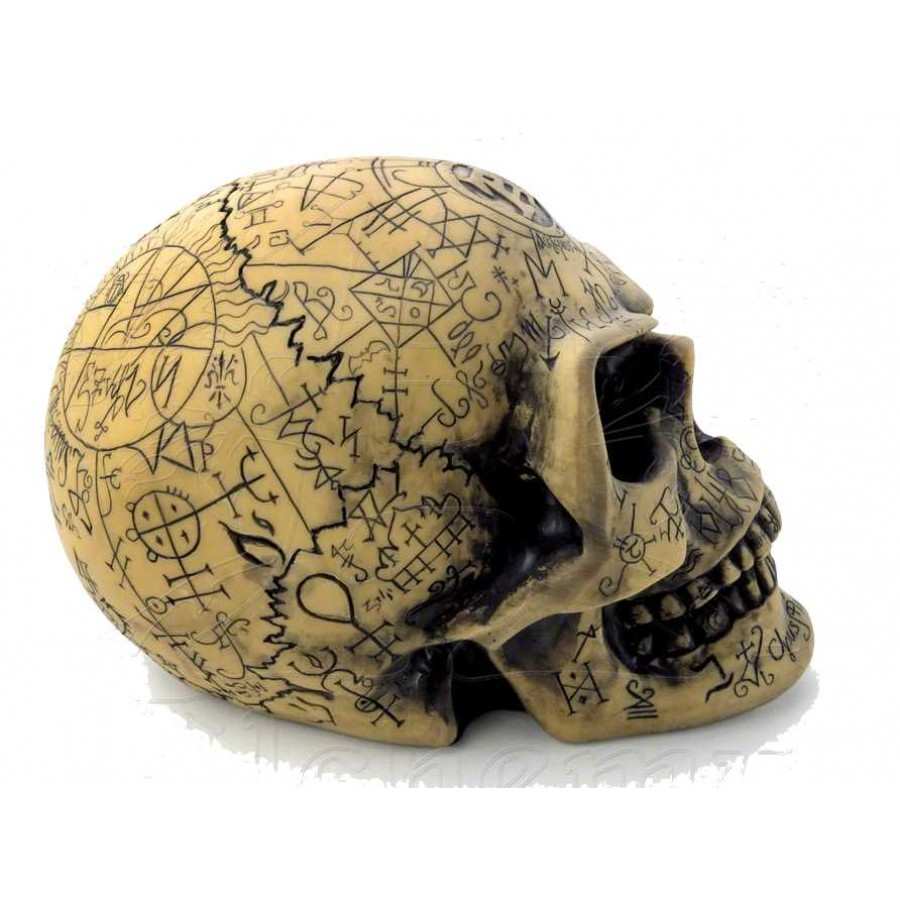 omega alchemists skull resin statue with mystical symbols