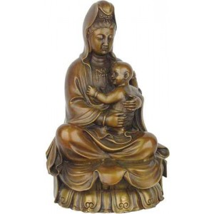 Kuan-Yin with Baby Small Bronze Statue Mythic Decor  Dragon Statues, Angels & Demons, Myths & Legends |Statues & Home Decor