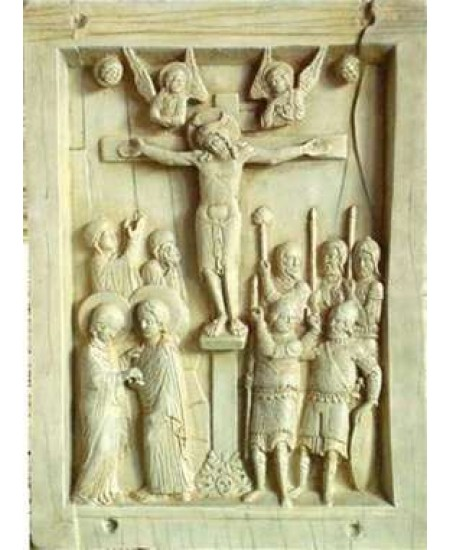 Byzantine Crucifixion Tablet Stone Relief Plaque at Mythic Decor,  Dragon Statues, Angels, Myths & Legend Statues & Home Decor