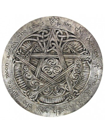 Crescent Moon Large Pentacle Wall Plaque