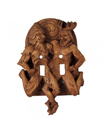 Green Man and Horned God Double Switchplate Mythic Decor  Dragon Statues, Angels, Myths & Legend Statues & Home Decor