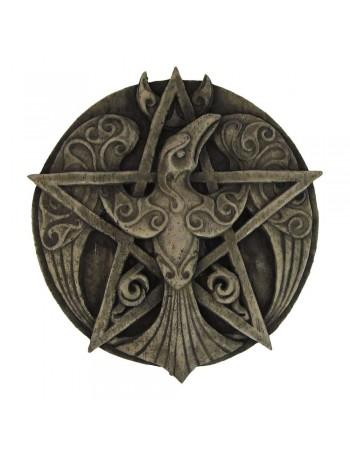Crescent Raven Pentacle Plaque Mythic Decor  Dragon Statues, Angels & Demons, Myths & Legends |Statues & Home Decor