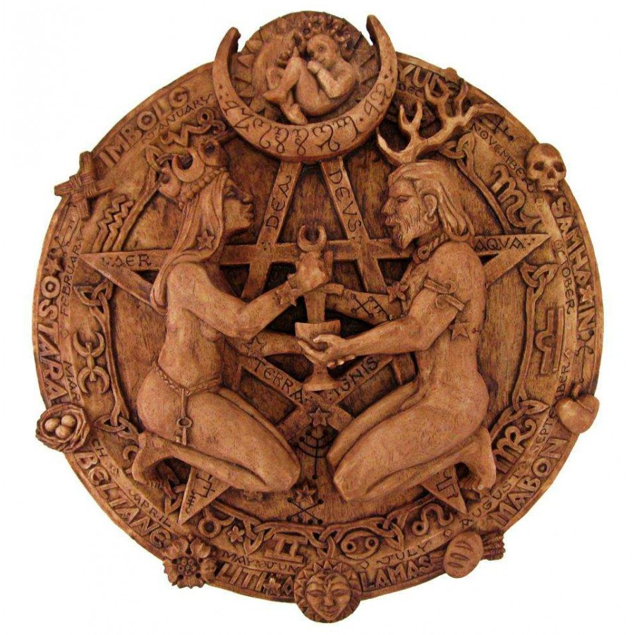 Great Rite Pentacle Wicca Plaque By Paul Borda