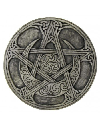 Crescent Moon Small Pentacle Wall Plaque