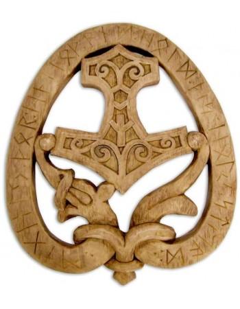 Dragon Thor Hammer Wood Finish Plaque