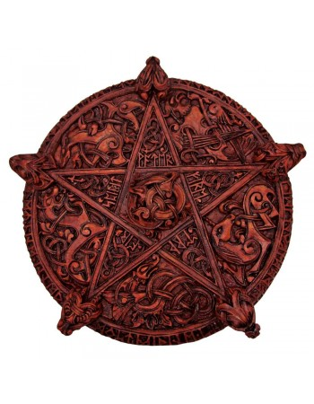 Knotwork Pentacle Large Wood Finish Plaque Mythic Decor  Dragon Statues, Angels & Demons, Myths & Legends |Statues & Home Decor