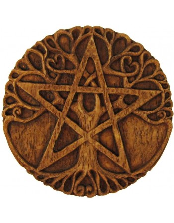 Tree Pentacle Wood Finish Plaque Mythic Decor  Dragon Statues, Angels & Demons, Myths & Legends |Statues & Home Decor