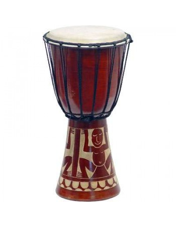Djembe Drum Carved Red Mahogany Finish - Assorted Designs Mythic Decor  Dragon Statues, Angels & Demons, Myths & Legends |Statues & Home Decor