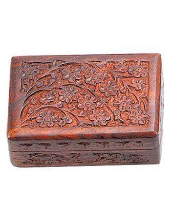 Floral Carved Wooden 6 Inch Box Mythic Decor  Dragon Statues, Angels, Myths & Legend Statues & Home Decor