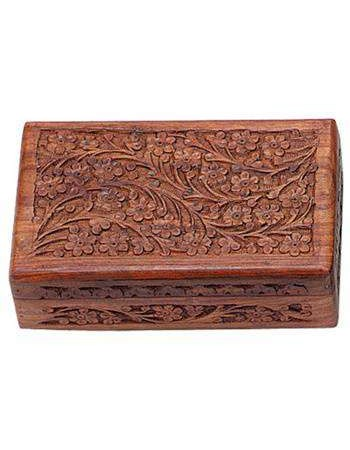Floral Carved Wooden 8 Inch Box Mythic Decor  Dragon Statues, Angels, Myths & Legend Statues & Home Decor
