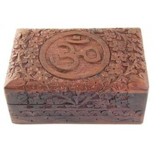 Om Symbol Floral Carved Wood Box - 6 Inches Mythic Decor  Dragon Statues, Angels & Demons, Myths & Legends |Statues & Home Decor