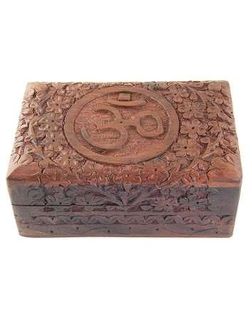 Om Symbol Floral Carved Wood Box - 6 Inches Mythic Decor  Dragon Statues, Angels, Myths & Legend Statues & Home Decor