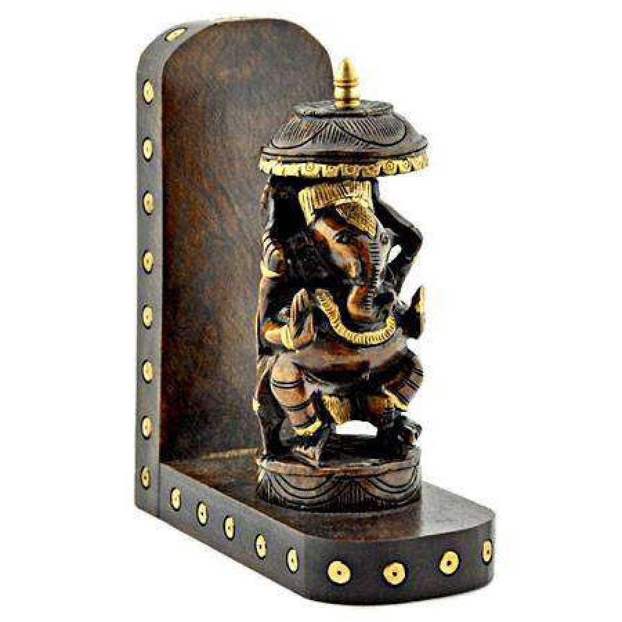 Ganesh hindu god hand carved wood wall hanging altar for Altar wall decoration