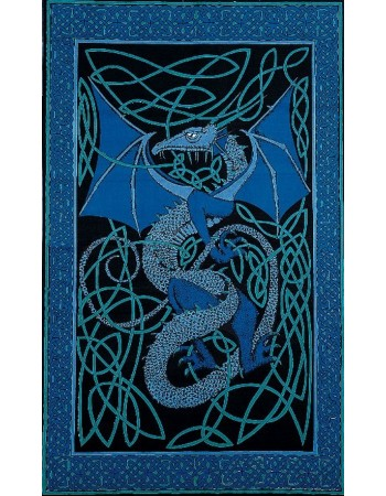 Celtic English Dragon Tapestry - Twin Size Blue Mythic Decor  Dragon Statues, Angels, Myths & Legend Statues & Home Decor