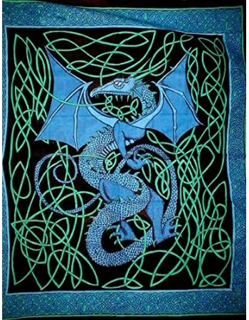 Celtic English Dragon Tapestry - Full Size Blue Mythic Decor  Dragon Statues, Angels, Myths & Legend Statues & Home Decor