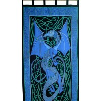 Celtic English Dragon Curtain - Blue