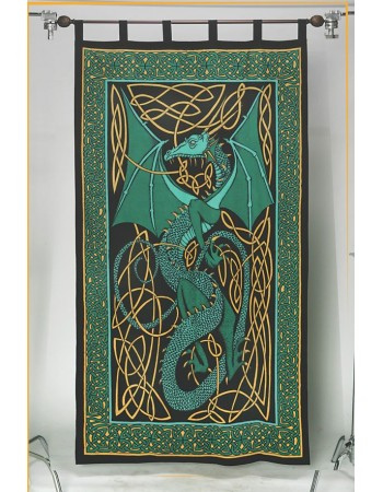 Celtic English Dragon Curtain - Green Mythic Decor  Dragon Statues, Angels, Myths & Legend Statues & Home Decor