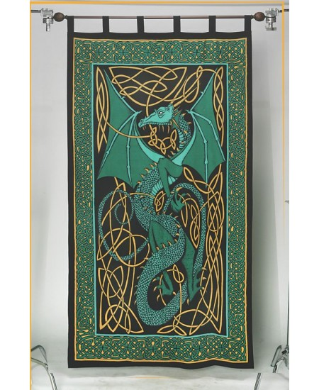 Celtic English Dragon Curtain - Green at Mythic Decor,  Dragon Statues, Angels, Myths & Legend Statues & Home Decor