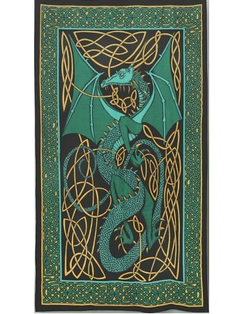 Celtic English Dragon Tapestry - Twin Size Green Mythic Decor  Dragon Statues, Angels, Myths & Legend Statues & Home Decor