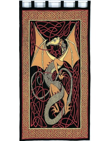 Celtic English Dragon Curtain - Red Mythic Decor  Dragon Statues, Angels, Myths & Legend Statues & Home Decor