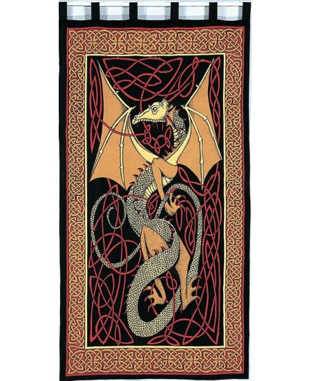 Celtic English Dragon Curtain - Red at Mythic Decor,  Dragon Statues, Angels, Myths & Legend Statues & Home Decor