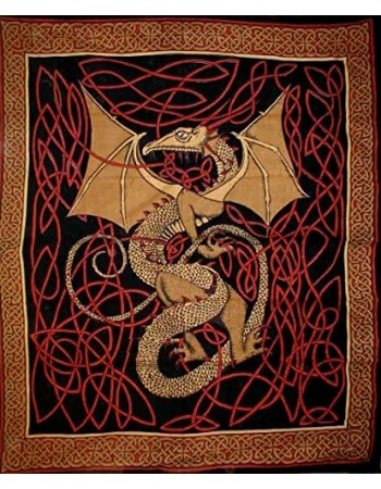 Celtic English Dragon Tapestry - Full Size Red Mythic Decor  Dragon Statues, Angels, Myths & Legend Statues & Home Decor