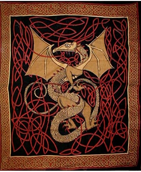 Celtic English Dragon Tapestry - Full Size Red at Mythic Decor,  Dragon Statues, Angels & Demons, Myths & Legends |Statues & Home Decor