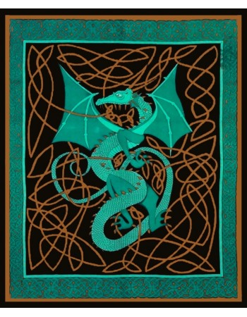 Celtic English Dragon Tapestry - Full Size Green Mythic Decor  Dragon Statues, Angels, Myths & Legend Statues & Home Decor