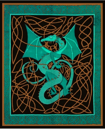 Celtic English Dragon Tapestry - Full Size Green at Mythic Decor,  Dragon Statues, Angels, Myths & Legend Statues & Home Decor