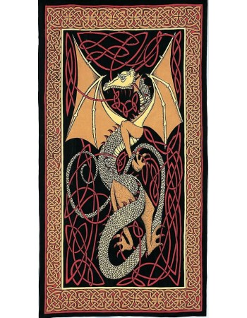 Celtic English Dragon Tapestry - Twin Size Red Mythic Decor  Dragon Statues, Angels, Myths & Legend Statues & Home Decor
