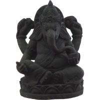Ganesha Statue in Black Volcanic Stone
