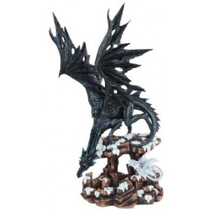 Daddy Time Black Dragon and Young Statue Mythic Decor  Dragon Statues, Angels & Demons, Myths & Legends |Statues & Home Decor