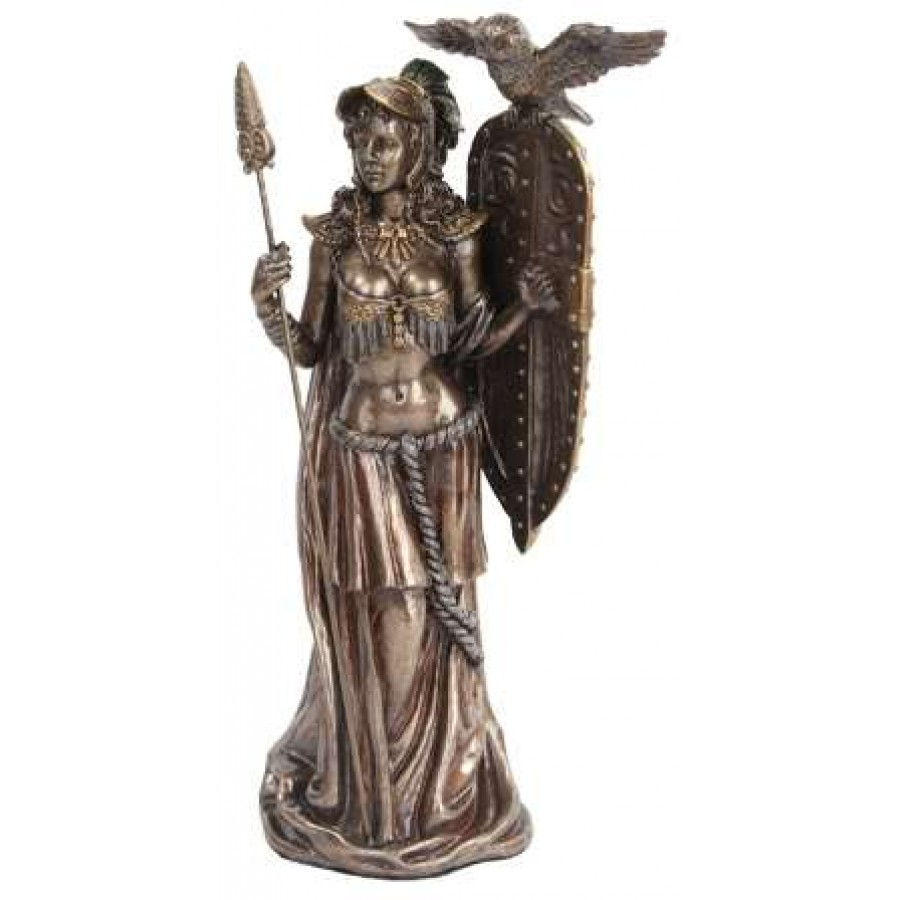 Athena Standing With Shield Greek Bronze Statue At Mythic Decor Dragon Statues Angels