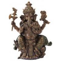 Seated Ganesha Hindu God Bronze 8 Inch Statue